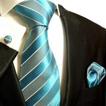690ch/ Brand New Aqua Blue Paul Malone Mens Silk Tie Set Photo