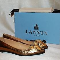 695 Lanvin Pointed Toe Ballet Bronze Gold Leather Flat Shoes Size 5.5/ 35.5 Nwb Photo