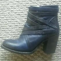 7 295 Freebird by Steven Gem Blue Leather Ankle Boots High Heel Bootie Strappy Photo