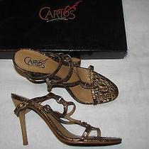 7.5 B Carlos Santana Ladies Shoes High Heels Strappy Ring Leather Croc Snakeskin Photo