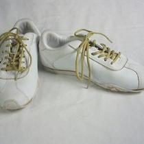 7.5  Baby Phat Hoop Jogger White Gold Leather Sneakers Athletic Shoes  Photo