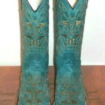 7.5 M Circle G Crazy Turquoise Square Toe Cowboy Boots Leather Sole  Photo