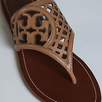 7.5 Tory Burch Thatched Perforated Leather Thong Sandal Flip Flop Natural Blush  Photo