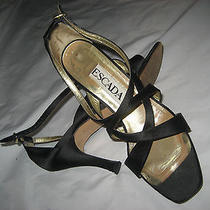 7 Aaa Escada Black Classic Strappy Satin Shoes Dance Bride Wedding Cruise  Photo