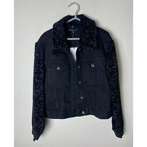 7 for All Mankind Black Faux Fur Sleeves Collar Short Denim Jacket Size Large Photo