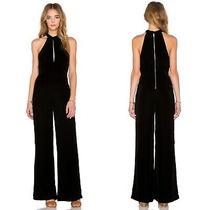 7 for All Mankind Black Velvet Halter Keyhole Jumpsuit Womens Size S Photo