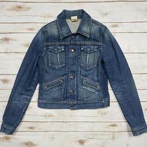 7 for All Mankind Blue Jean Stretch Denim Trucker Jacket Womens Size S Photo