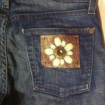 7 for All Mankind Bootcut Jeans in Sweden Flower Jewel Patch Size 25 X 33.5 Photo