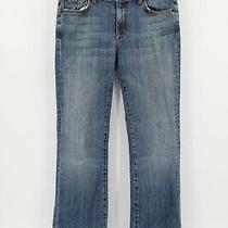 7 for All Mankind Bootcut Jeans Mid Rise Denim Blue Stretch Solid Womens Size 31 Photo