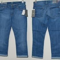 7 for All Mankind Crop & Roll Cuffed Skinny Stretch Jeans Size 26 Nwt 178 Photo