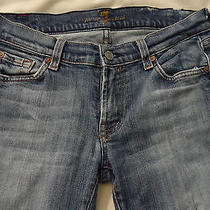7 for All Mankind Distressed Womens Jeans Sz 28 Medium Wash Cotton Lycra Bootcut Photo