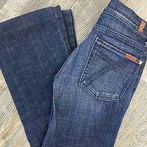 7 for All Mankind Dojo Women Jeans Dark Denim Wide Leg Flare Size 27 Inseam 32 Photo