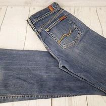7 for All Mankind Flare Jeans Sz 28 Women Blue Distressed Denim Medium Wash Photo