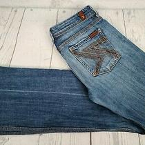7 for All Mankind Flynt 32 Jeans Blue Denim Distressed Medium Wash Rhinestone  Photo