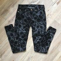 7 for All Mankind Jeans Black Floral Velvet Burnout  Size 26 Skinny Ankle Photo
