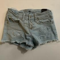 7 for All Mankind Kids Sky Blue Denim Shorts Size 8 Girls Photo