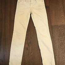 7 for All Mankind Light Grey / Off White Jeans W28 Straight Leg 32 Photo