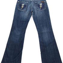 7 for All Mankind Lightning Bolt Heart Crystal Bootcut Dk Med New York Jeans 25 Photo