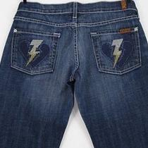 7 for All Mankind Lightning Bolt Heart Crystal Dmny Bootcut Jeans 25 X 30l Photo