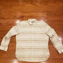 7 for All Mankind Mens B Striped Button Up Shirt Xxl Biege Photo