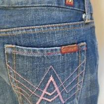 7 for All Mankind Pink a-Pocket Low-Rise Boot Open Top Jeans Size 26 Photo
