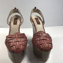 7 for All Mankind Platform Wedge  Cherry Washed-Out Leather Sandals 8.5us Photo