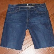 7 for All Mankind Slimmy Cutoff Denim Shorts Men's Size 38 Euc Photo