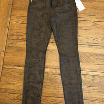 7 for All Mankind Women's Brown Snakeskin Print Skinny Pant Ankle Sz 25 Photo