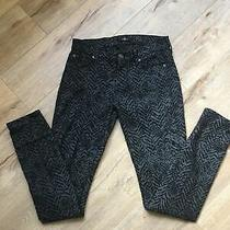 7 for All Mankind Women's Jeans Black Animal Print Size 26 Mid-Rise Skinny Ankle Photo