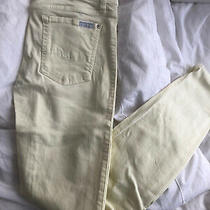 7 for All Mankind Womens Jeans Pale Yellow Size 28 Stretch Ankle Skinny Photo