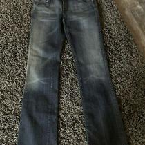 7 for All Mankind Womens Pink Stitch Bootcut Dark Wash Jeans Size 28 Photo
