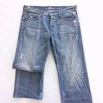 7 Seven for All Mankind Mens Jeans Blue Distressed Button Fly Size 34 Relaxed Photo