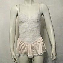 70's Uw Undercover Wear 81120 White Lace Blush Nylon Bodysuit Teddy S Usa Made Photo
