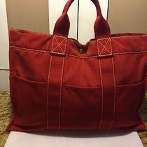 700hermes Fourre Tout Mm Tote Bag France 100% Auth/red Color Canvas Shopper Photo