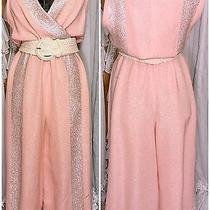 70s Glamour Blush Pink and Silver Chunky Knit Plunging Wideleg Jumpsuit Photo