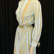 70s Vintage Aqua & Gold Stripe Secretary Dress W Matching Belt Round Buttons M-L Photo