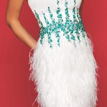 7145r Mac Duggal Homecoming Formal Designer Dress White Teal Aqua Short Size 6  Photo