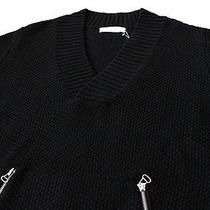 715 Balmain by Pierre Balmain Chunky Waffle-Knit v-Neck Wool Sweater 48 Medium Photo
