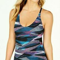 72 Nike Line Up Printed Cross-Back Tankini Top Women's Swimsuit Size Small S04 Photo