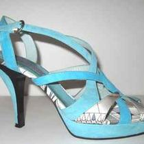 725 Emilio Pucci Runway Cage Silk Suede Colorblock Sandals Teal Aqua Turquoise Photo