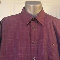 738 Yves Saint Laurent Eggplant Plaid Long Sleeve Shirt Mens 17-1/2 32-33 Photo