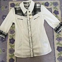 74 Nwt Guess Jeans Size Large L Blouse Top Shirt Buffalo Plaid Roses White Blk Photo