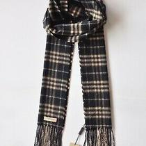 740 Authentic Bnwt Burberry Vintage Check Cashmere Mens/womens Scarf in Black  Photo