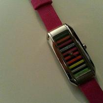 745 Designer Sonia Rykiel Pink Satin Signature Striped Watch Authentic Gift New Photo