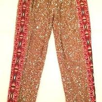 745 -Nwt- Haute Hippie Narrow Junk Gold Sequin Embroidered Cropped Pant Xs 0/2 Photo