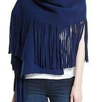 750 Burberry Wool Cashmere Solid Felted Fringe Scarf Navy Photo