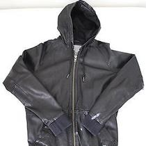 750 Diesel Sweleat Hooded Leather Bomber Jacket Size Small Black  Photo