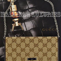 750 Gucci Wallet Gg Canvas Logo Plate Chain Leather Trim Photo