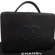 753 Authentic Chanel Cc Logo Black Caviar Skin Vanity Hand Shoulder 2 Way Bag Photo