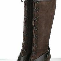 76-44 New Women's Sz 8 M Cole Haan Suede Lace Up Tall Boots in Brown Photo